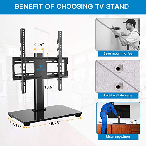 PERLESMITH Swivel Universal TV Stand / Base - Table Top TV Stand for 32-55 inch LCD LED TVs - Height Adjustable TV Mount Stand with Tempered Glass Base, VESA 400x400mm, Holds up to 88lbs PSTVS09
