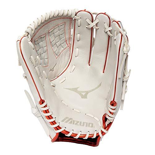 Mizuno Unisex's 312853.F001.15.1250 Baseball Clothing Batting Gloves, White/Red Trident Web, One Size