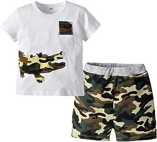 puseky Toddler Kids Boys Crocodile Stripe T-Shirt Top Shorts Pants Summer Outfit Set