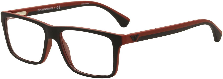 EMPORIO ARMANI Eyeglasses EA 3034 5324 Black Red Rubber 55MM