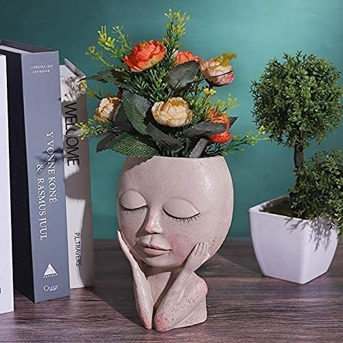 Garden Ornaments Outdoor, Girls Face Head Flower Planter Succulent Plant Pot Flowerpot Figure Garden Decor, Cute Resin Cactus Planter with Drainage Hole, Decoration for Garden Home Yard ( Color : A )