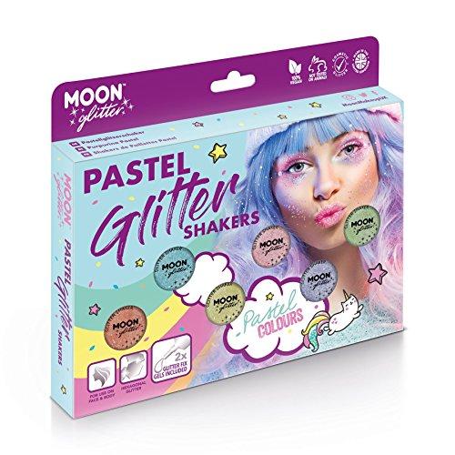 Secoueurs à paillettes pastel par Moon Glitter (Paillette Lune) – 100% de paillettes cosmétique pour le visage, le corps, les ongles, les cheveux et les lèvres - 3g - Cofrett