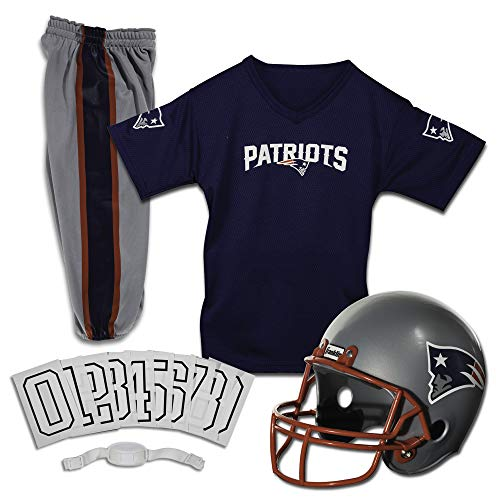 Franklin Sports New England Patriots Kids Football Uniform Set - NFL Youth Football Costume for Boys & Girls - Set Includes Helmet, Jersey & Pants - Small