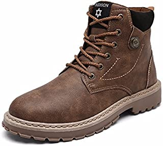Vepary Men's Ankle Work Boots,High Top Leather Boots