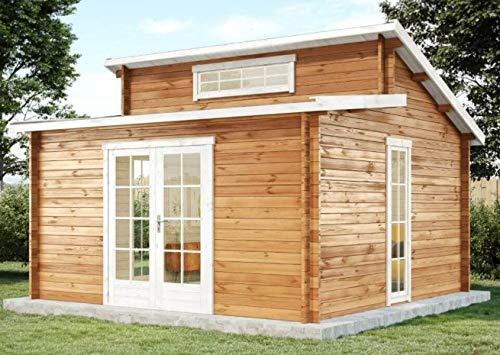 #CARLSSON Garten Blockhaus LAUSITZ-40 ISO – Gartenhaus mit Doppel-Pultdach, Boden & Isoglas Fenster – Massivholz Blockhütte ohne Imprägnierung, 40 mm#