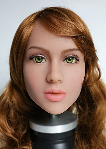KingMansion Sex Doll Head, for 158cm Sex Doll Lifelike Real Oral Ass Anal Vagina Sex Male Toy, Sex Doles for Man (# 15, Tan Skin)