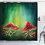 Ambesonne Mushroom Shower Curtain, Dark Forest with Mushrooms Adventure Misty Mysterious Wizard Witch Magic, Cloth Fabric Bathroom Decor Set with Hooks, 75' Long, Green Red