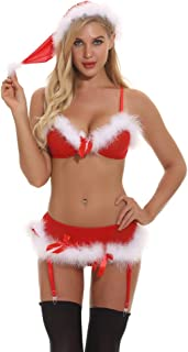 Women's Santa Lingerie Red Christmas Babydoll Set Strap Chemises Outfit Lace Sleepwear
