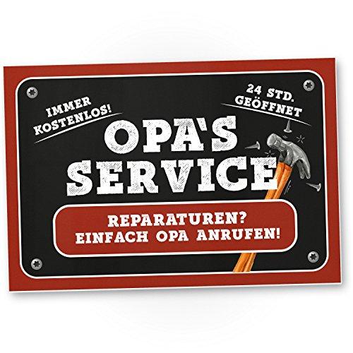 DankeDir! Opa's Service Kunststoff Schild (30 x 20 cm) - Süßes Türschild Opa's Werkstatt, Wanddeko, Geschenkidee Geburtstagsgeschenk Opa, Persönliches/süßes Geschenk Großvater/die Großeltern