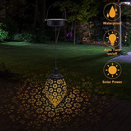 Farolillos Solares Exterior Jardin, Linterna Solar Luces Blancas, Lampara Solar Exterior Led Impermeable, Luces Solares Decoración para Patio Jardín Césped