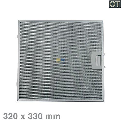 Metalen roosterfilter vetfilter rechthoekig metaal 320x330 mm afzuigkap originele Bosch Siemens Neff 00362381 362381 met eenzijdige ontgrendeling Constructa Balay dkl dkfa del dkl dkf dkf dks