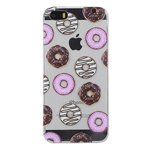 Janeqi Cover Apple iPhone 5/5S/SE(4.0') - Guscio Morbido di Moda in TPU+Tutto compreso Trasparente Case Cover per Apple iPhone 5/5S/SE(4.0') - E8/Ciambella
