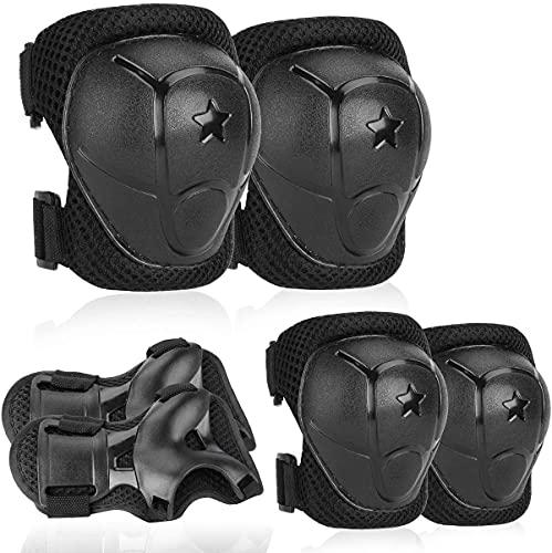 Jiyagshu Protezione Kit per Bambini, Set Ginocchiere Gomitiere Polsiere Protettivo Kids Protective Gears per Pattini a Rotelle Ciclismo BMX Bike Skateboard Pattinaggio in Linea Scooter