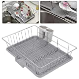 Coldshine Metal Dish Drainer, Stainless Steel Dish Rack with Extendable Drip Tray Wire