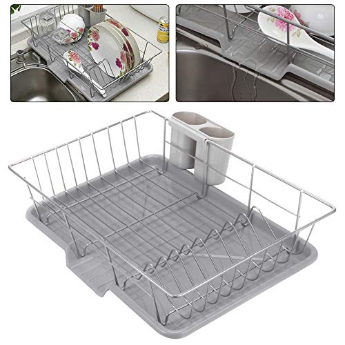 Coldshine Metal Dish Drainer, Stainless Steel Dish Rack with Extendable Drip Tray Wire Cutlery Draining Holder Plate Kitchen Sink Cutlery Holder