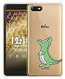 Sunrive Für Wiko Tommy 3 Hülle Silikon, Transparent Handyhülle Schutzhülle Etui Hülle für Wiko Tommy 3(TPU Dinosaurier)+Gratis Universal Eingabestift