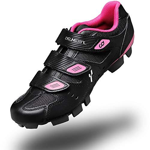 CyclingDeal - Zapatillas de ciclismo para mujer, color negro compatible con Shimano SPD y CrankBrothers