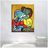KONGQTE Pablo Picasso Two Girls Reading Canvas Painting Print Living Room Home Decor Artwork Modern Wall Art Poster Picture -60x75CM no Frame