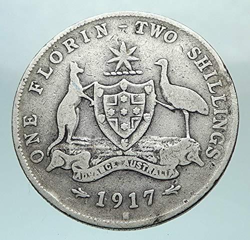 1917 AU 1917 AUSTRALIA – UK King George V Kangaroo AR Flo coin Good Uncertified