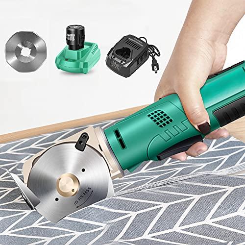 Máquina cortadora de telas, SPUIOOY cuchilla portátil inalámbrica de 70 mm, batería de litio recargable, función automática de afilado de cuchillas para cortar telas, cuero, papel