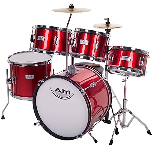 AM Percussion 16 inch 5-Piece Complete Kids / Junior Drum Set with Adjustable Throne, Cymbal, Pedal & Drumsticks, Metallic Red, AMKD516-RD