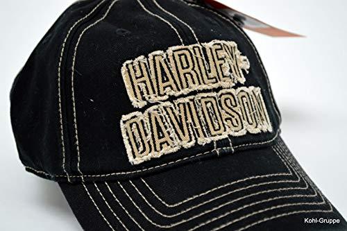 Harley-davidson Old Fashioned Frayed H-d Baseball Cap, Wash Black Cap *
