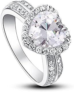Unendlich U colore oro rosa Anello di fidanzamento classico in argento Sterling 925 pietra a forma di cuore misura regolabile da 49 a 57 con zirconi