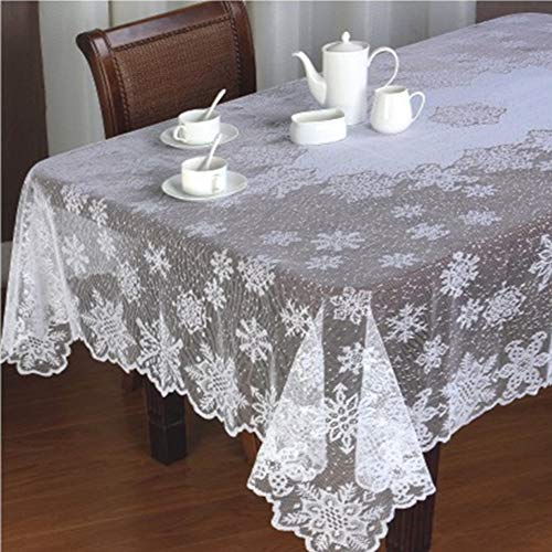 White Lace Tablecloth Rectangle 60 x84- Embroideried Snowflakes Floal Crochet Table Cloth Cover Overlay Solid Color for Home Kitchen Cafe Wedding Party Table Decorations