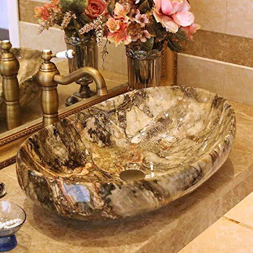 Allamp Modern Imitación Piedra baño encimera Lavabo Aseo de Pintado a Mano del Fregadero del Recipiente del Lavabo del baño Ovalada Lavabo de cerámica Chino
