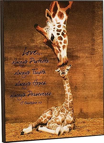 Darlene Louisa Mother Giraffe Kissing Baby Giraffe Love 1 Corinthians 13 7 16 X 13 Wood Wall Art Sign