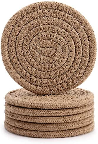 6Pcs Drink Coasters ABenkle Stylish Handmade Braided Drink Coasters 4 3inch 100 Pure Cotton product image