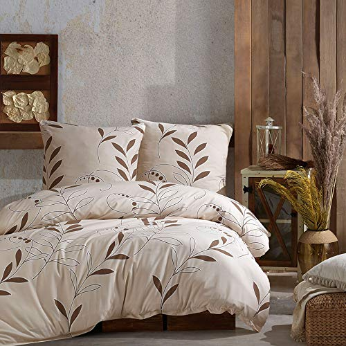 Juego de ropa de cama Clara de algodón 135 x 200 cm + funda de almohada 80 x 80 cm – Funda nórdica suave con cremallera, 2 piezas