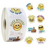 BJ-SHOP Adesivo Premio Adesivo Smiley 500 Emoticon Reward Sticker 8 Disegni Assortiti Ades...