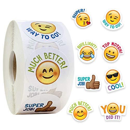 Pegatinas Smiley 500 Emoticon Reward Sticker 8 Diseños Surtidos 2.5cm Pegatinas Escolares para el Aula Potty Training Stickers y Motivational Stickers