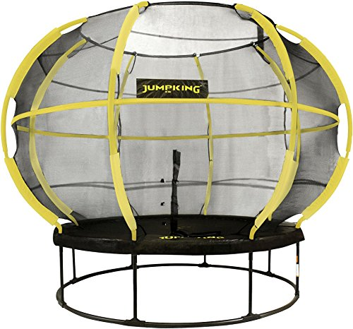 JumpKing NEW 10ft Round Trampoline with ZorbPod Safety Net Enclosure (Yellow)