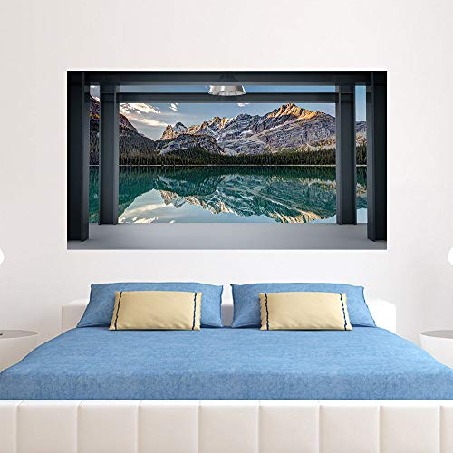 Arte de la pared Pegatinas para el dormitorio Pegatinas extraíbles junto a la cama Bricolaje, Sala de estar Sofá Papel tapiz 3D Vinilo profesional Mejora, Ventana Mountain Lake Scenery