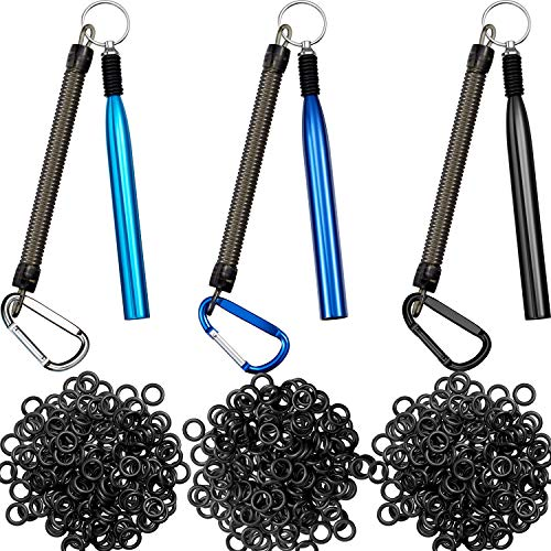 3 Pieces Wacky Rig Tool Wacky Worm Kit Wacky Worm Tools with 300 Pieces Wacky O-Rings Fishing Rigging Tool for Baits Fishing Supplies (Black, Blue, Light Blue)