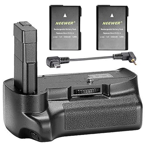 Neewer Empuñadura Vertical Profesional de Batería con 2 Paquetes de Baterías de Iones de Litio de Repuesto de 7,4V 1050mAh EN-EL14 Compatible con Cámaras DSLR Nikon D3100 D3200 D3300 D5300