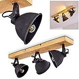 Plafonnier Svanfolk en métal noir et bois, 3 spots orientables au style rétro pour 3 ampoules E14,...