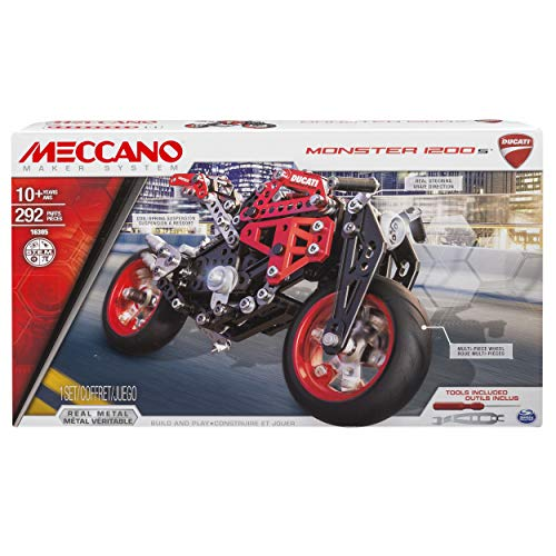 Meccano 1200s by Erector, Ducati Monster 1200 S Model Building Kit, Multicolore, 294 Pezzi, 6027038