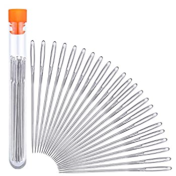 23 PCS Large Eye Sewing Needles 2.36in Sewing Sharp Needles Leather Needle Embroidery Thread Needle Stainless Steel Yarn Knitting Needles with a 3.3in Plastic Bottle