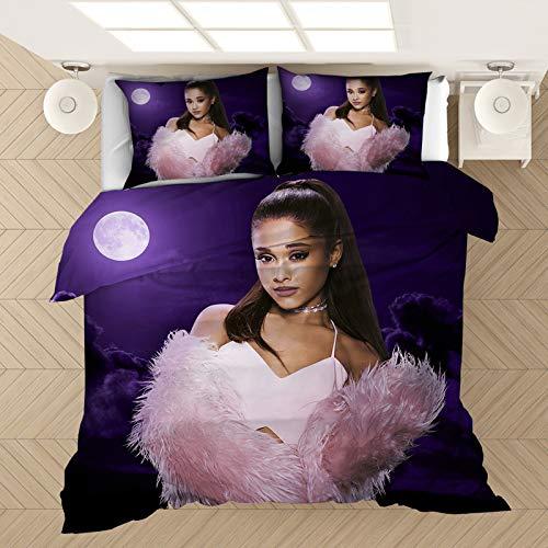 SK-YBB Ariana Grande - Ropa de cama con impresión digital 3D, con cremallera, 100% microfibra, funda de almohada + funda nórdica universal para adultos (5,220 x 260 cm (80 x 80 cm)