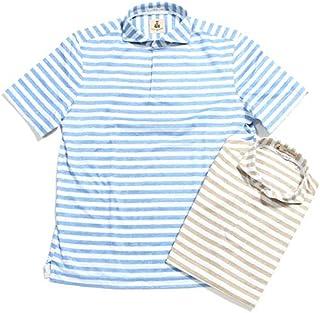 [ギローバー] ボーダーコットンリネン スキッパー ポロシャツ メンズ PC221J 591508