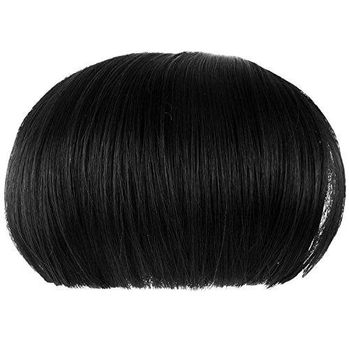 Vococal® Femmes Filles Bob Perruque Clip En Extensions de Cheveux Humains Tout Droit Plat Frange Noir