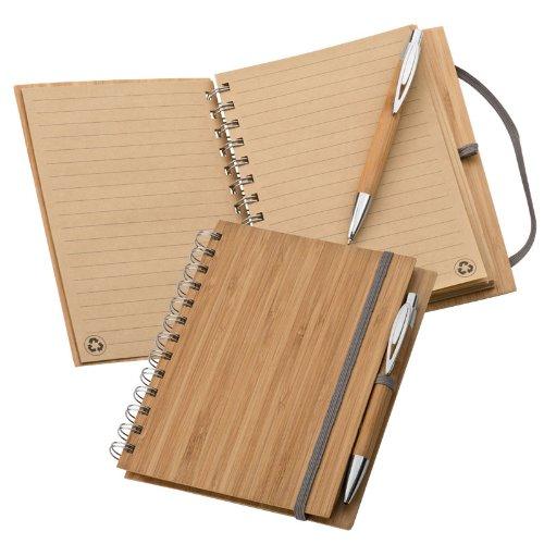 Trendiges Öko-Notizbuch mit Bambus-Cover und Bambus-Kugelschreiber