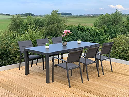 GSD Sydney Aluminium Dining Sets w/Textured Glass Table Tops, Paded Weatherproof Textilene Stacking Chairs (Sydney 6 Seat Rectangular Dining Set)