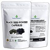 Cosmic Element Black Seed Powder Capsules - Source of Omega 3 6 9 - Nigella Sativa Black Cumin Seeds - Super antioxidant for Immune Support, Joints, Digestion, Hair & Skin - 120 Vegetable Powder Caps