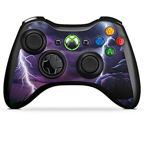 DeinDesign Skin kompatibel mit Microsoft Xbox 360 Controller Aufkleber Folie Sticker Lila Blitz Gewitter