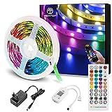 WenTop Tiras LED Bluetooth 5m, 5050 RGB Tiras de luces LED con IR Control Remoto y Inteligente Control de APP, Tira LED Cambia el Color con la Música, Para Decoración de Habitación, Fiestas, Cocina