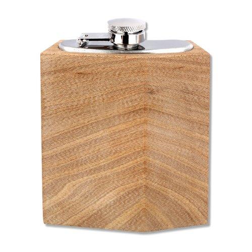 Heupfles berg-elm 90 ml Blanco - Edele heupfles van mat roestvrij staal met dekselhouder en hout uit duurzame teelt is uniek! Geweldig cadeau voor vrienden en familie. Gemaakt in Duitsland